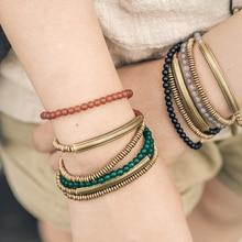 Разноцветный браслет ручной работы из металлического медного сплава с камнем, многорядный браслет для мужчин и женщин, уникальные ювелирные изделия в стиле ретро, браслет на запястье в стиле хиппи