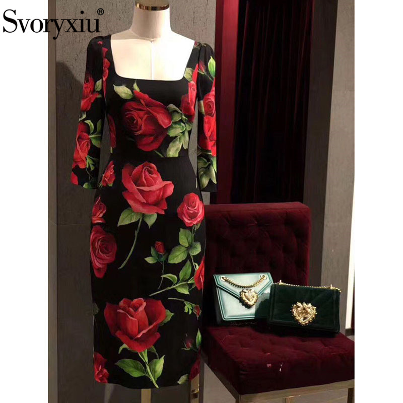 Svoryxiu Autumn Winter Runway Fashion Dress Women's Elegant 3/4 Sleeve Big Red Rose Flower Print Vintage Black Party Dresses
