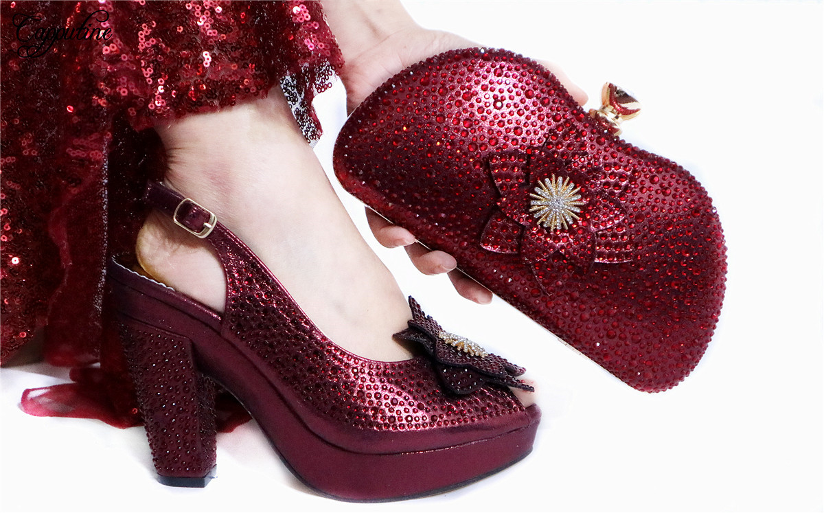 Wine Shoes And Purse Handbag African High Heel Sandals With Evening Bag Set For Party GL1912-3  Heel Height 10.5CM