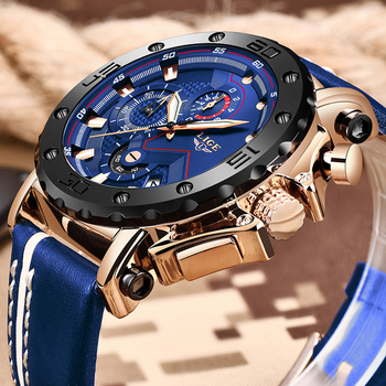 2019 New LIGE Mens Watches Top Brand Luxury Big Dial Military Quartz Watch Casual Leather Waterproof Sport Chronograph Watch Men 1
