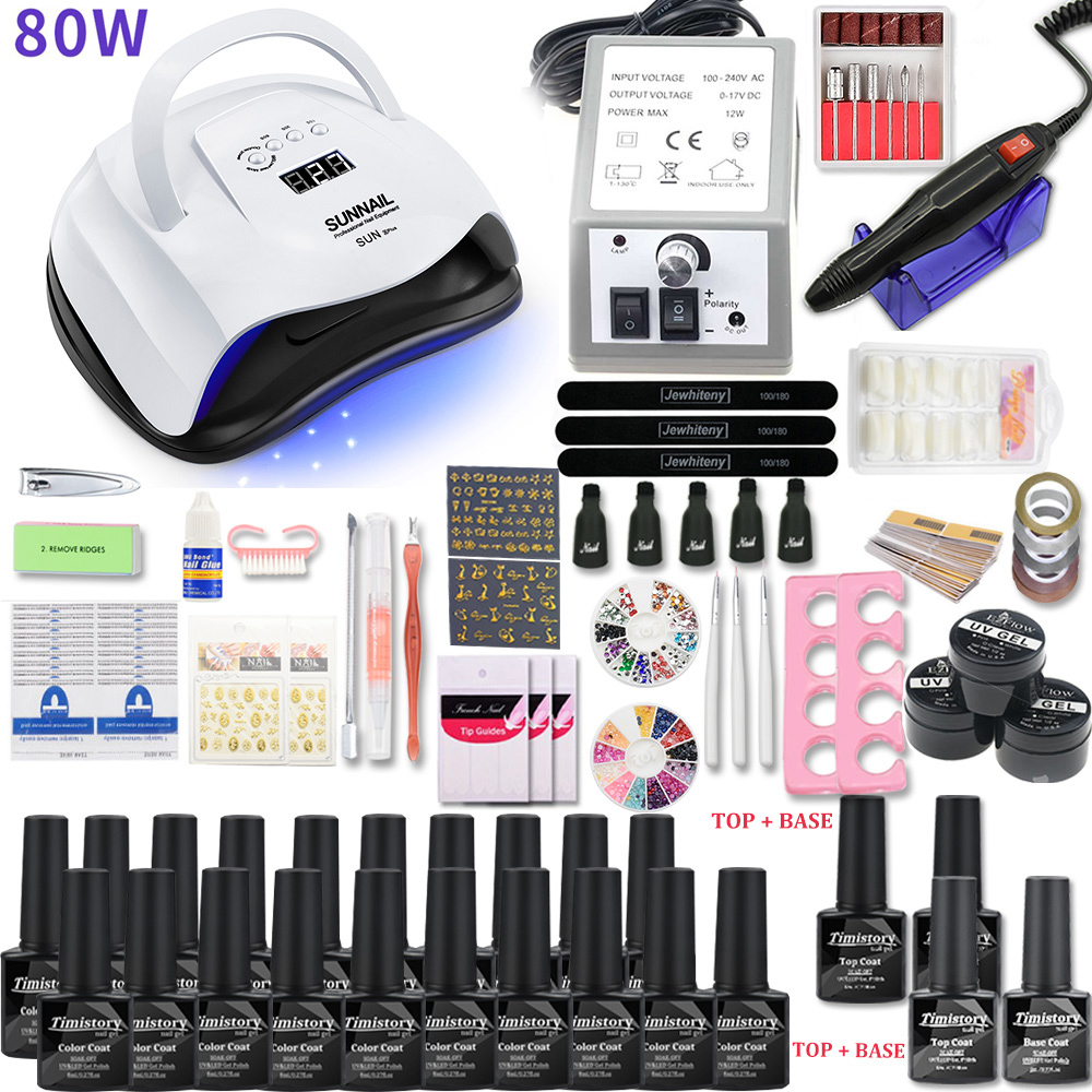 Nail Set For Nail 20 Kinds Nail Polish Kit With 20000RPM Nail Drill Machine Nail Lamp Acrylic Kit Nail Art Tools Nail Art Set