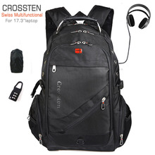 Crossten Swiss Multifunctional 17.3″ USB Charger Port Laptop Backpack Schoolbag Waterproof High Capacity Mochila Travel Bag