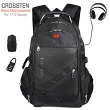 """Crossten Swiss wielofunkcyjny 17.3 """"port usb do ładowania laptopa plecak tornister wodoodporna torba podróżna o dużej pojemności Mochila"""