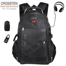 Crossten sac décole étanche, suisse multifonction, sac de voyage Mochila, avec chargeur USB Port 17.3, sac à dos pour ordinateur portable pouces
