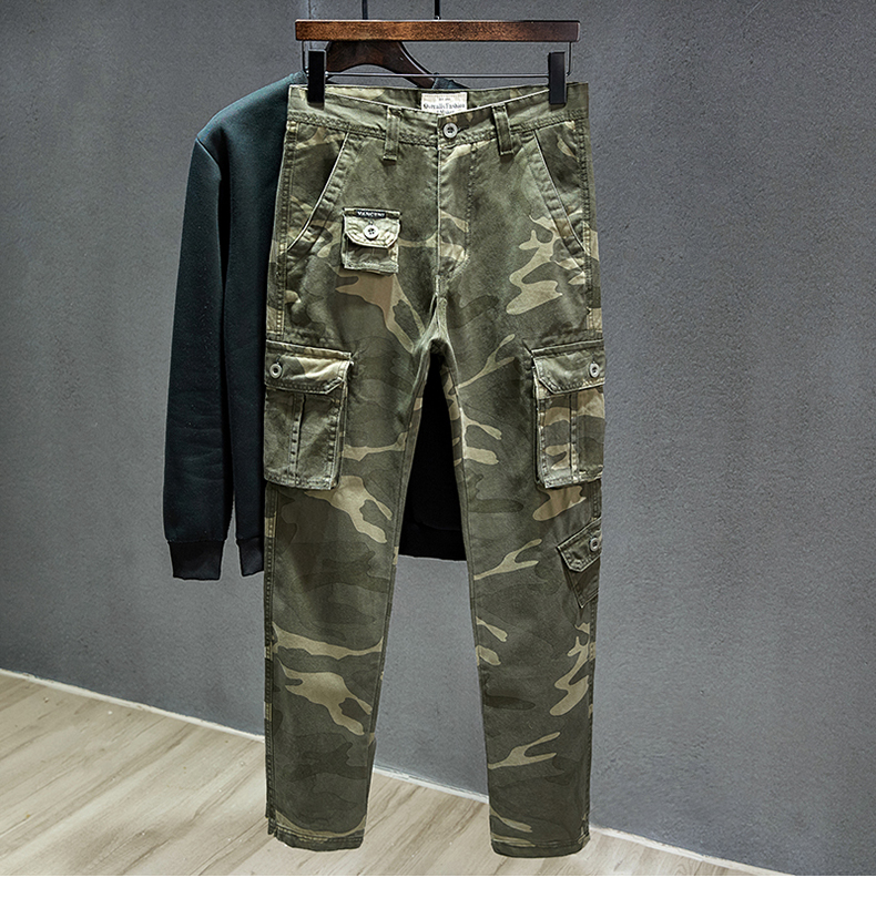 KSTUN Cotton Cargo Pants Men Straight Cut Tactical Military Overalls Multi Pocket Camouflage Pants Khaki Pants Man Trousers Sweatpants 19