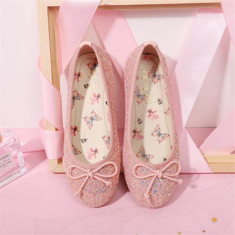 Girls Princess Shoes Children Kid Bowknot Bling Single Party Dance Shoes Girl Wedding Children's Flats Female Flat Shoes