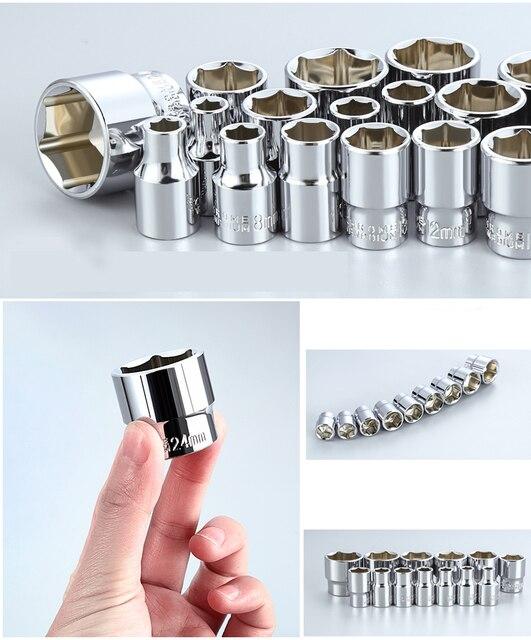 AI-ROAD Household Multifunction Car Repair Tool Kit Home DIY Set Screwdriver Socket Set Universal Ratchet Torque Wrench Bit Key 3