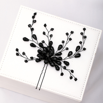 Black Beaded Butterfly Hairpin