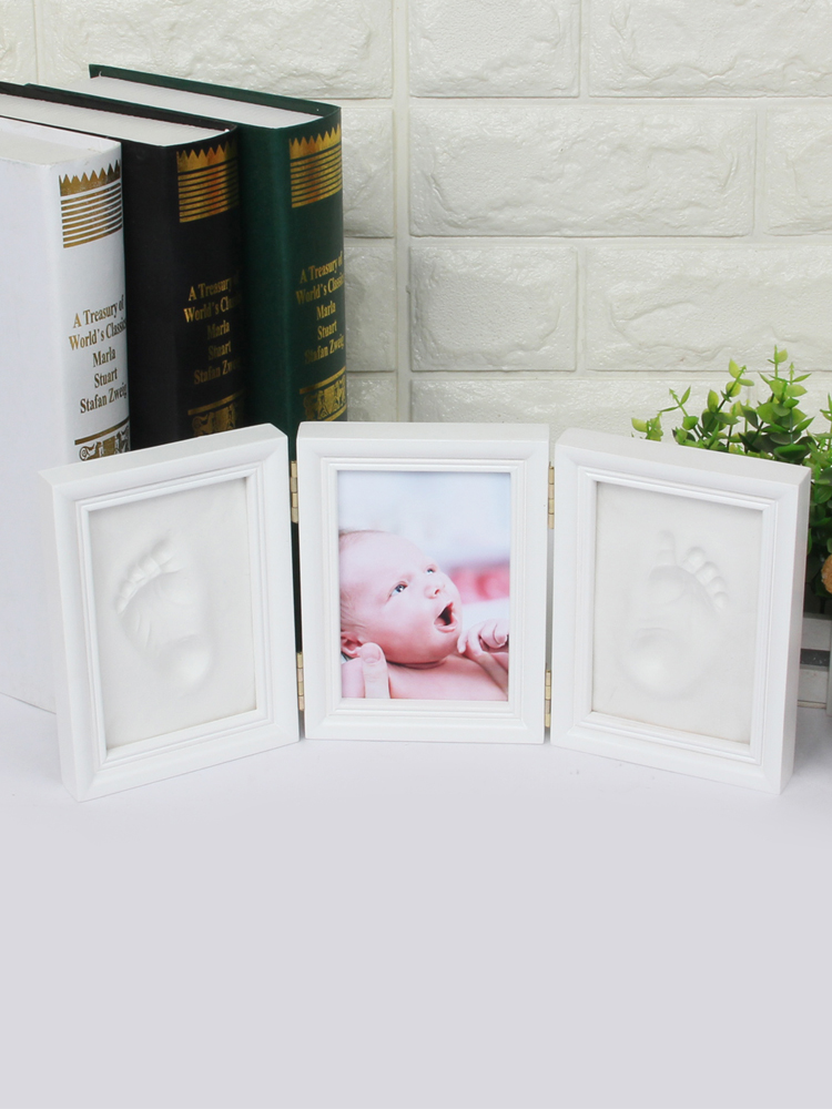 Baby Hand /& Foot Print Frame Kit Ultimate newborn baby gift Safe imprint Clay for moulding with a Premium Wood frame and High Quality Acrylic Glass Cover Soft