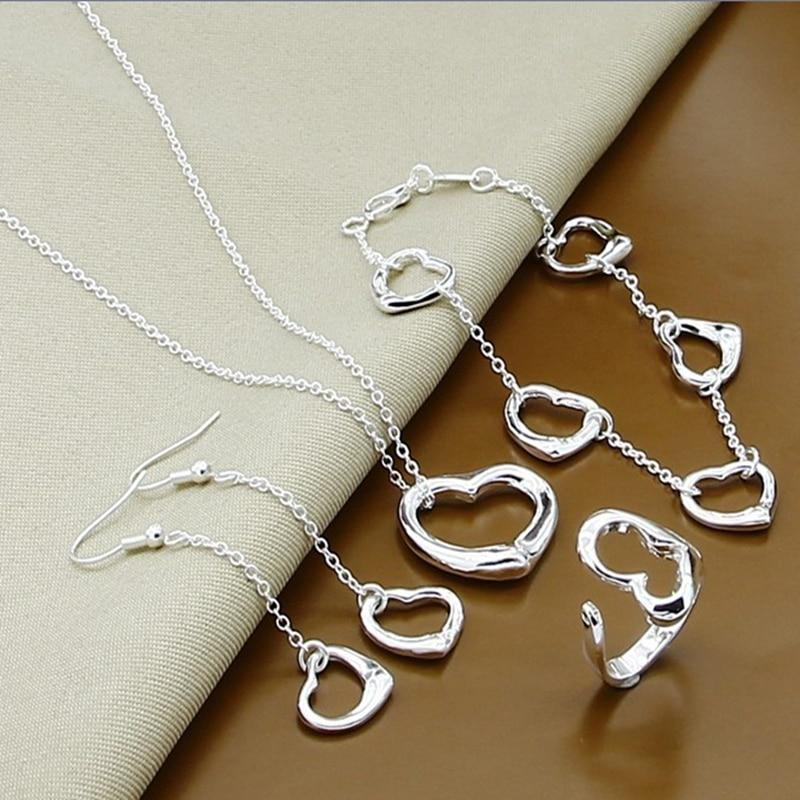 Prix de gros 925 argent ensemble de bijoux amour coeur forme collier Bracelet boucles doreilles anneaux ensemble de beaux bijoux