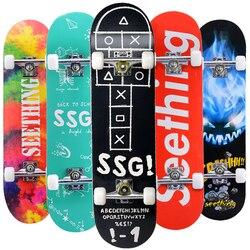 31 Adult & Kids Maple Complete Skateboard Skate Board Double Rocker Skateboard High Speed Drift Skateboard