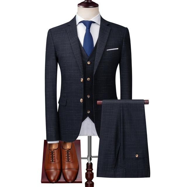( Jacket + Vest + Pants ) High-end Brand Luxury Dark Lattice Business Men's Slim Suit Groom Wedding Dress Tuxedo Banquet Clubmen 10