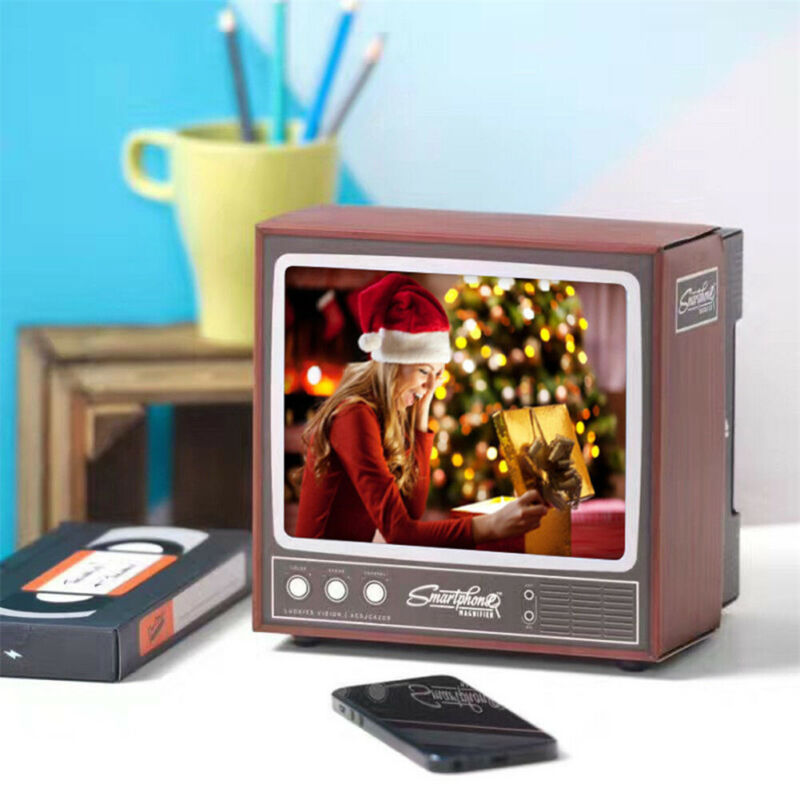 Hot DIY Retro TV Shape Mobile Phone Screen Magnifier Cellphone Stand Holder Amplifier Video Expander 3D Screen Movie For Display