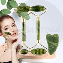 Masajeador Jade VERDE rodillos herramientas de cuidado para la piel Facial Piedra Natural Gouache raspador de rodillo Facial de belleza masajeadores conjunto