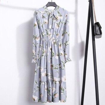 2021 Winter Dress Women Long Sleeve Vintage Dress Chiffon Shirt Vestidos For Ladies Casual Floral Midi Autumn Dresses Polka Dot 6