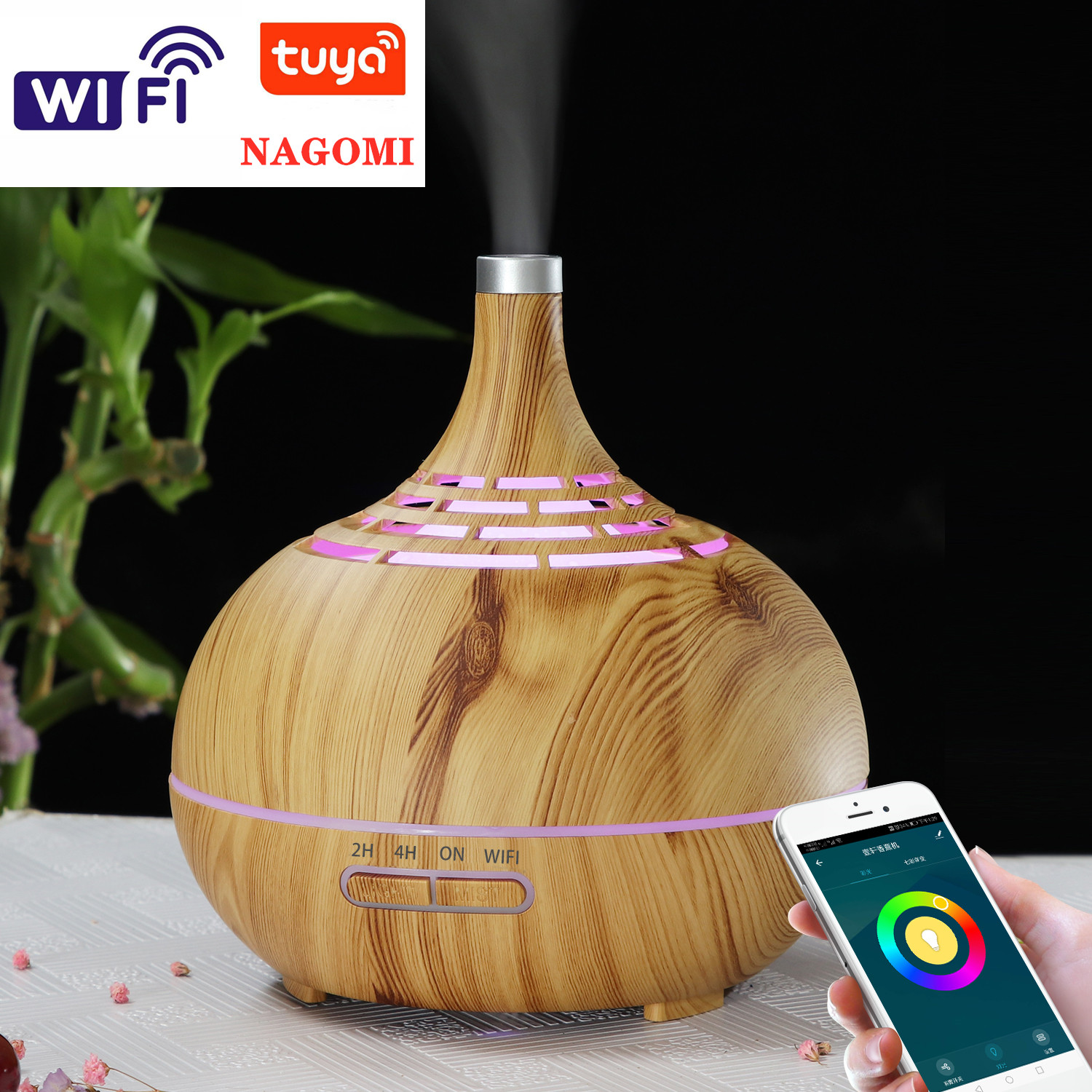 400ml Humidifier Ultrasonic Air Humidifier APP WiFi Control Mist Maker Aroma Essential Oil Diffuser LED Night Light Home Office