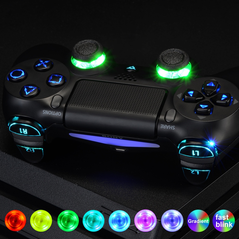 Multi-Colors Luminated Thumbstick Classical Symbols D-pad L1 R1 R2 L2 Home Face Buttons DTFS LED Kit for PS4 CUH-ZCT2 Controller