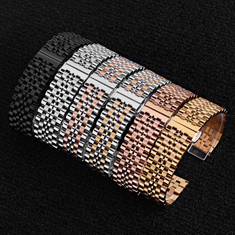 Watchband Strap Stainless Steel Full Solid Steel Strap Push Button Hidden Clasp Rose Gold 22mm Strap Replacement Accessories: