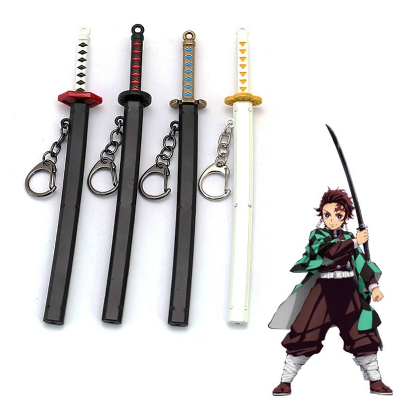 Anime Demon Slayer: Kimetsu No Yaiba Cartoon Kamado Tanjirou Sword Keychain Blade Of Ghost Keyring Weapons Model Cosplay Jewelry