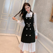 New Solid Color Long-sleeved Lapel Fashion Shirt Dress+ Solid Color Double-breasted Belt Strap Dress Autumn Women's Clothing