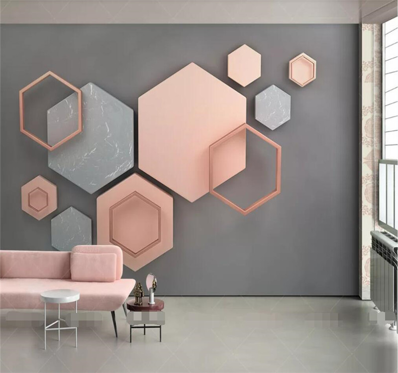 3d hexagonal mosaic modern minimalist geometric TV background wall manufacturers wholesale wallpaper murals custom photo