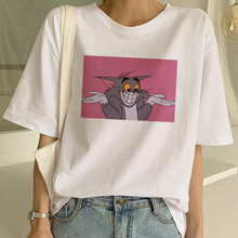 2020 New Ulzzang kawaii Cat and Mouse Casual Short Sleeve fun cute Female Cartoon Print Summer