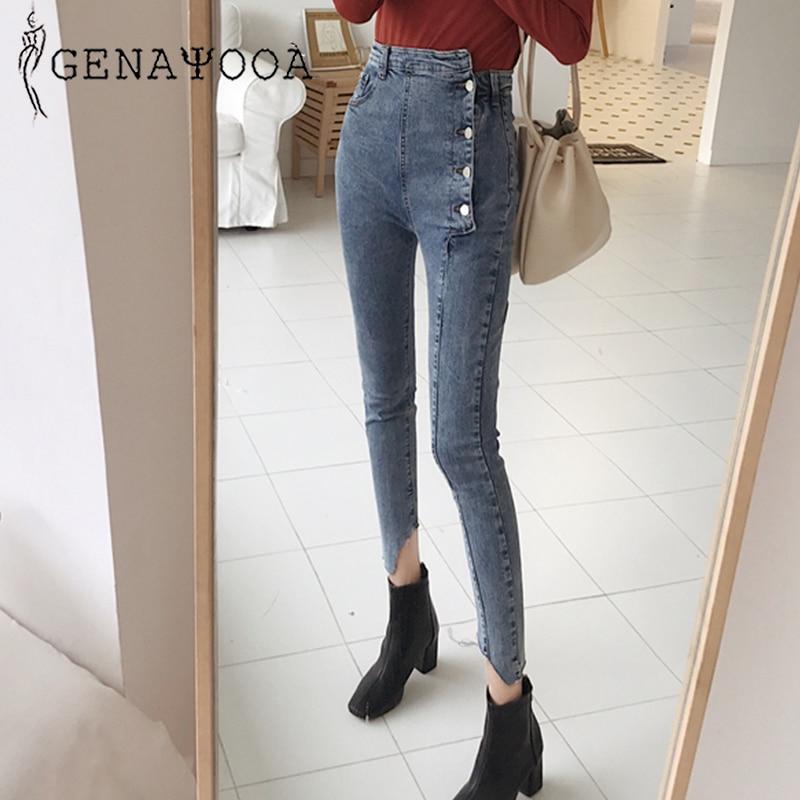 Genayooa High Quality Skinny Jeans Woman Botton High Waist Jeans Vingate Demin Pencil Pants Streetwear 2019