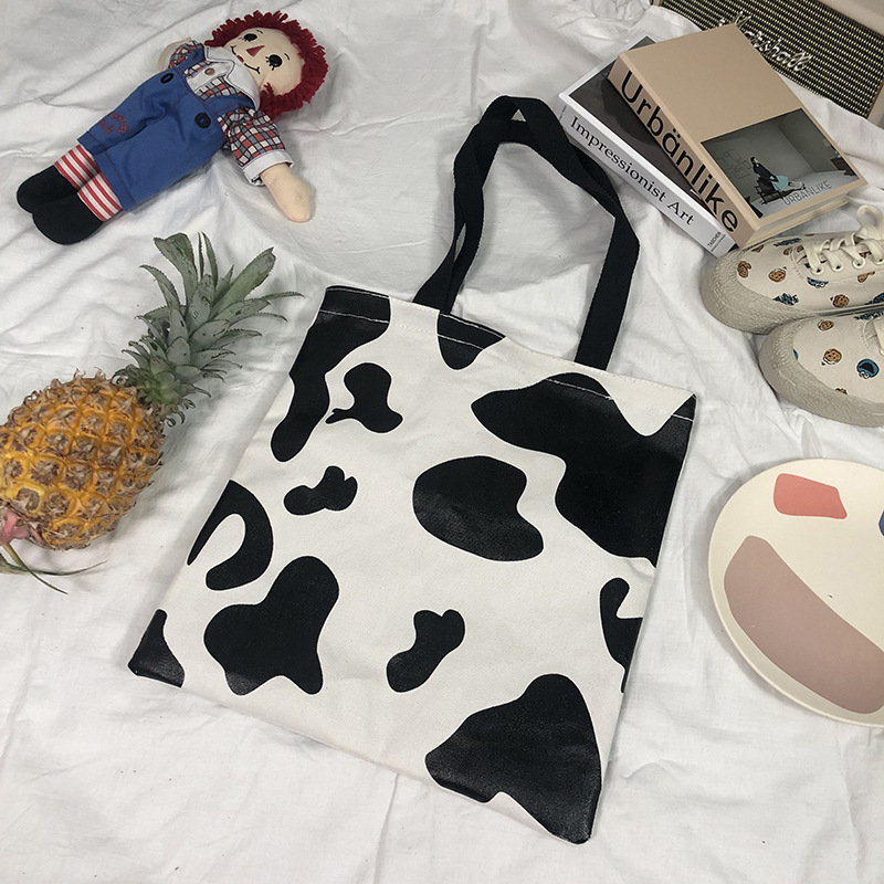 Ougger Large Shoulder Bags Women's Handbags Summer White Canvas Leisure Style Cow Bag With Cartoon Printing For Shopping