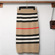 In The Autumn of 2019 The New Striped Impingement Color Shows Thin Knitted Bust Skirt Medium and Long Waistband Loosening Belt