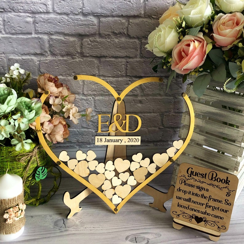 Transparent Heart Shaped Wedding Guestbook Alternative, Gold Heart Drop Box, Elegant Wedding Sign, Wedding Sign Modern, Alternat