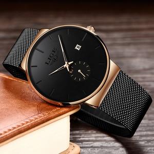 reloj LIGE Men Watches 2020 Satianless Steel Waterproof Watch for Men Sport Quartz Calendar Gold Watch Man Dress reloj hombre(China)