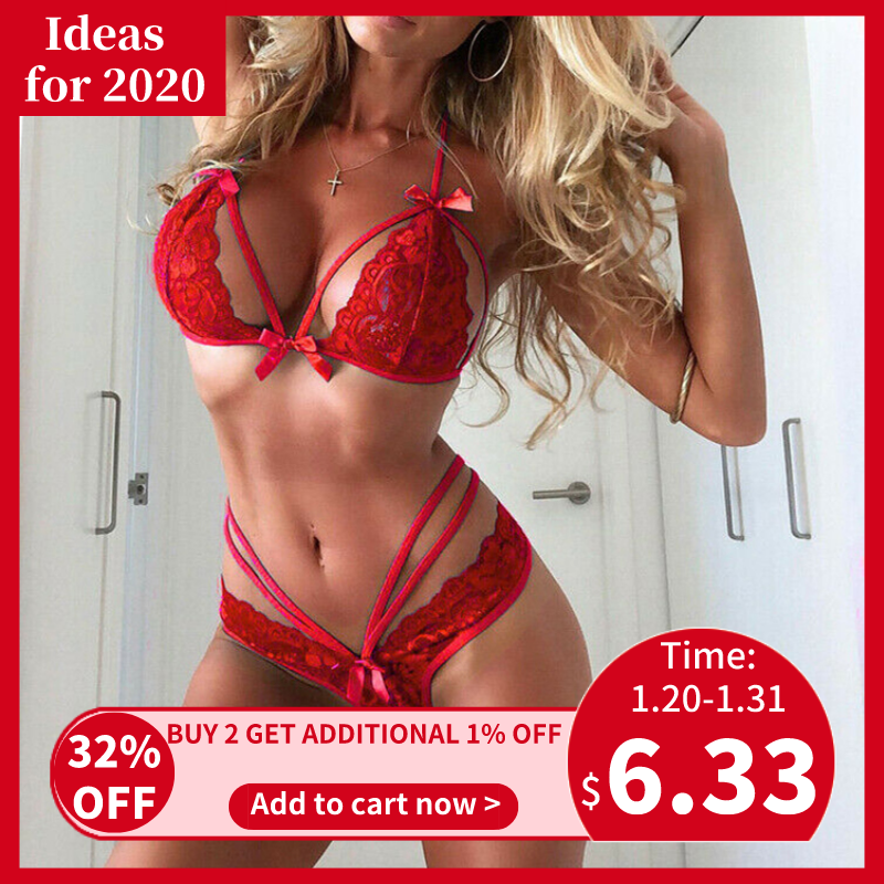 Helisopus Sexy Lace Lingerie Bra Set Red Blue Sexy Bandage Transparent Underwear Sleepwear Female Brief Sets