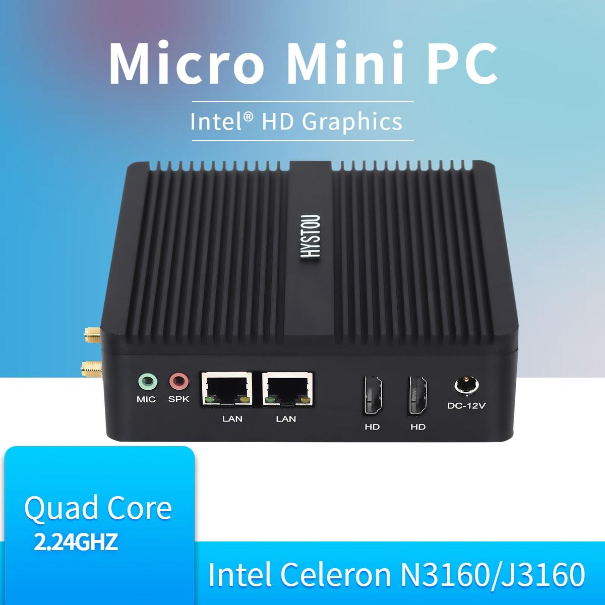 Intel Quad Core Celeron N3160 Fanless Mini PC Windows 10 Linux PFsense Router Server Computer Industrial Minipc 2 LAN HD 1 RS232