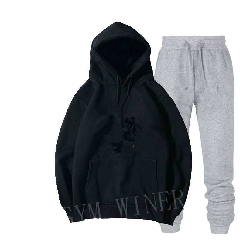 Image 2 - Mens and womens unisex 2 piece hooded trousers sportswear pullover sweatshirt trousers 2 piece sportswear suitMens Sets   -