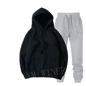Image 2 - Mens and womens unisex 2 piece hooded trousers sportswear pullover sweatshirt trousers 2 piece sportswear suit