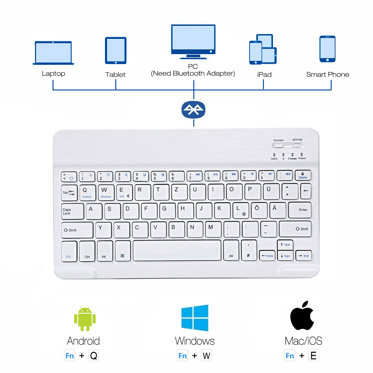 Keyboard Case fits for iPad Air 1 2 A1566 A1567 Wireless Bluetooth Keyboard Case for iPad air2 in Tablets e Books Case from Computer Office