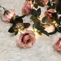 Novedad 2,2 M Rosa Hada de las flores luces guirnalda de hiedra Artificial de luz de cobre cuerdas para ramos de boda, dormitorio Decoración