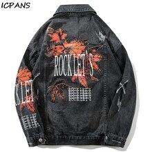 ICPANS Denim Jean Jackets Male Hip Hop Casual Streetwear Vintage Mens Maple Leaf Printed Ripped Denim Jacket Mens Distressed casual drawstring distressed denim dress