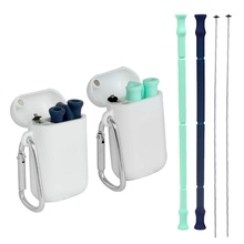 Portable Travel Silicone Collapsible Straws Reusable Folding Drinking Straw Tube Set with Case and Cleaning Brush