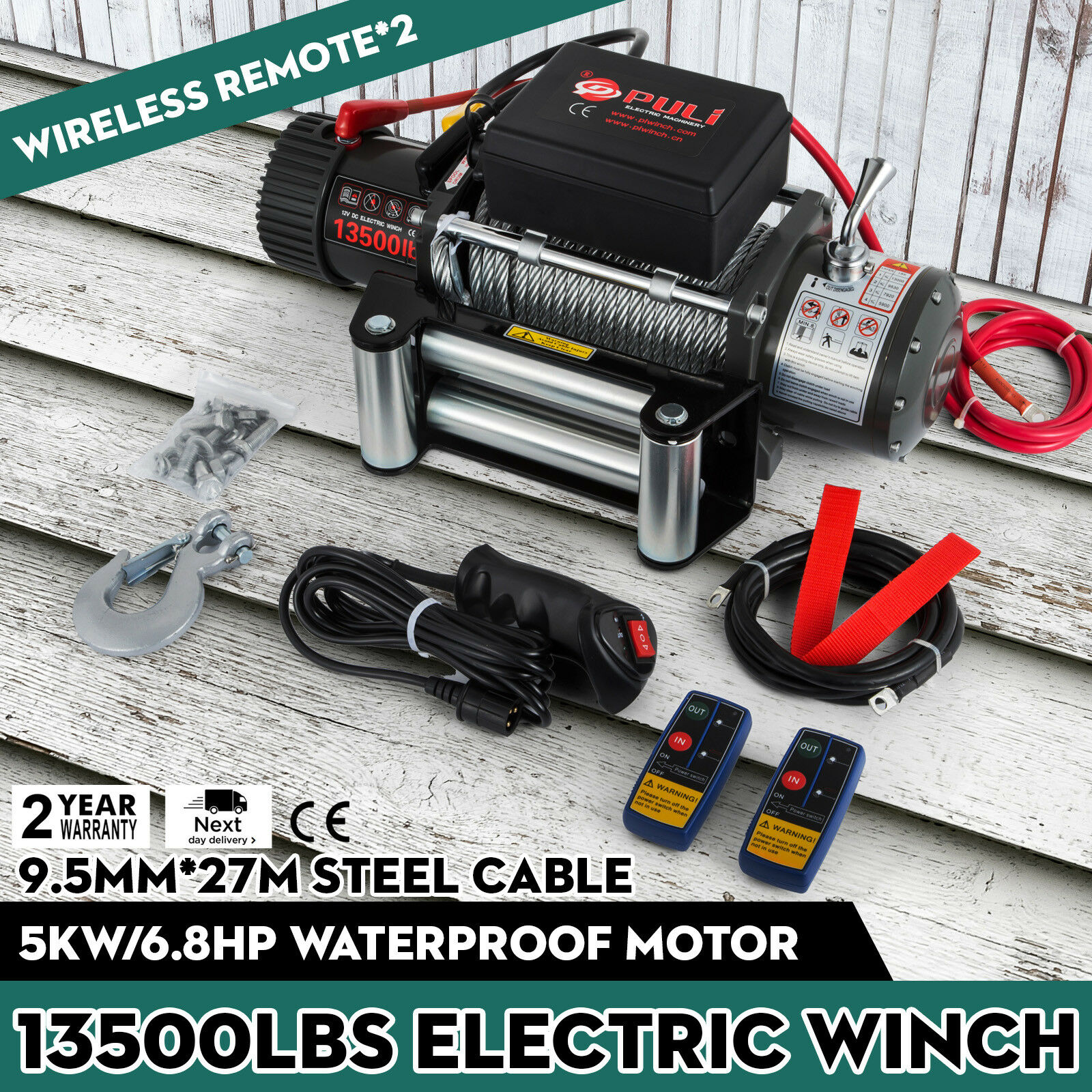Free Duty For EU Russian  Electric Winch Rope 12V 6T Remote Control Traction 6123.5KG 4.8KW Winch Cable