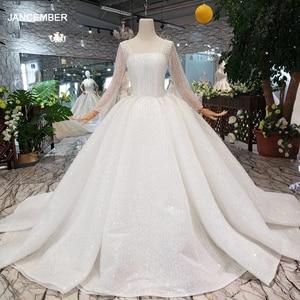 Image 1 - HTL346 nuovo Abito Da Sposa come il bianco piazza collo pulsante indietro lungo tulle maniche abito da sposa con velo da sposa бохо платье