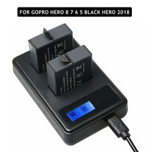2 adet tam Decode kahraman 8 7 siyah Hero 6 5 pil + LCD çift şarj GoPro Hero 5 için 6 7 siyah git Pro 8 şarj aksesuarları