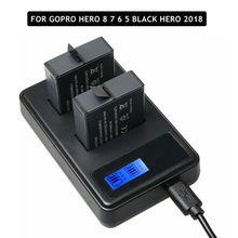 2pcs Voll Decode Hero 8 7 Schwarz Hero 6 5 Batterie + LCD Dual Ladegerät Für GoPro Hero 5 6 7 schwarz Go Pro 8 Lade Zubehör