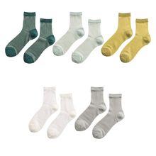 Japanese Women Girls Plain Solid Color Ankle Socks Thin Sheer Glass Fiber Splicing Jacquard Vertical Striped Short Tube Hosiery
