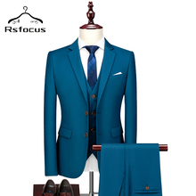 Rsfocus 2020 Black White Burgundy Sky Blue Red Yellow Wedding Suit Male 3 Piece Boutique Formal Business Suits 5XL 6XL TZ100