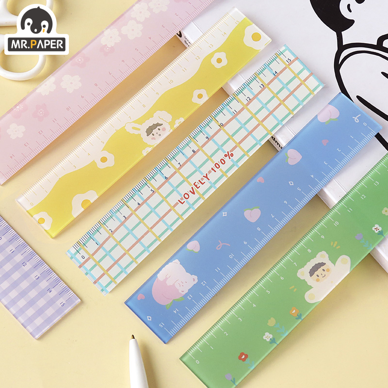 Mr.paper 8 Designs Colorful Lovely Sakura Memo Pads Ruler Multifunction DIY Drawing Rulers Double-duty School Office Supplies