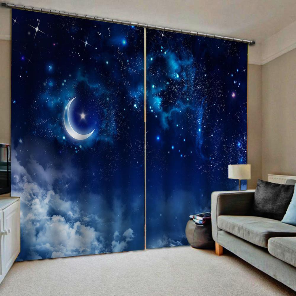 Rideaux de rideaux occultants de fenêtre de luxe d'impression 3D d'étoile de lune adaptés aux besoins du client pour le salon
