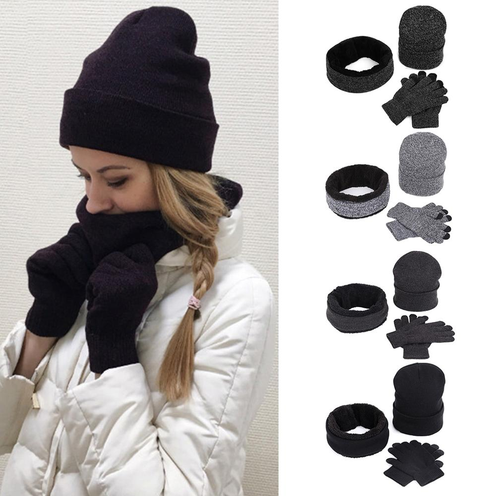 Women Men Winter Beanie Hat Infinity Scarf Touch Screen Gloves 3 Pieces Knitted Set Thicken Plush Lining Snow Ski Outdoor Warmer