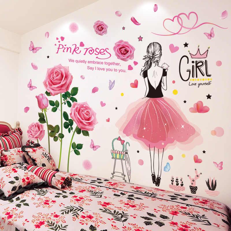 [SHIJUEHEZI] dessin animé fille Stickers muraux PVC rose à faire soi-même fleurs Stickers muraux pour enfants chambres bébé chambre salon décoration