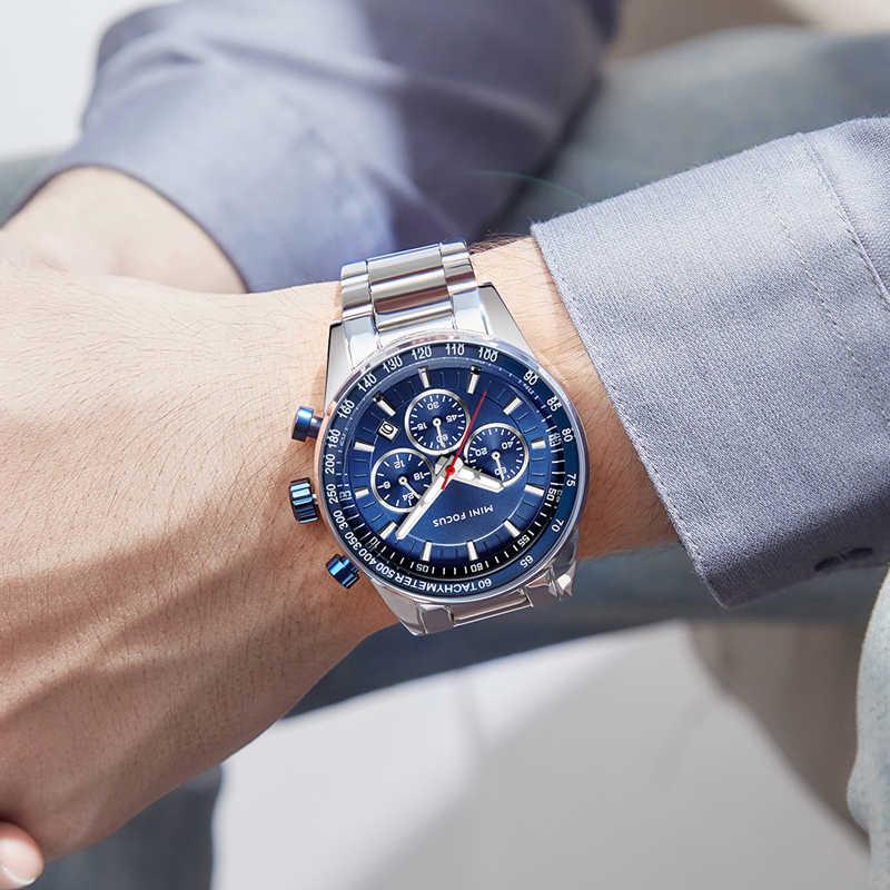 MINI ODAK Paslanmaz Çelik Iş Saatler Erkekler Lüks kronometreli kuvars saat Üst Marka Spor Kol Saati Relogios 0187 Mavi